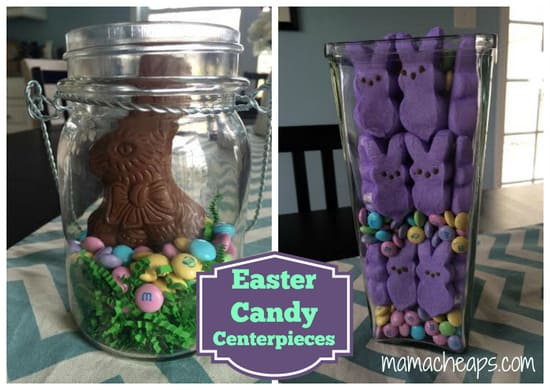 Easy easter candy centerpieces peeps m amp ms and chocolate bunnies
