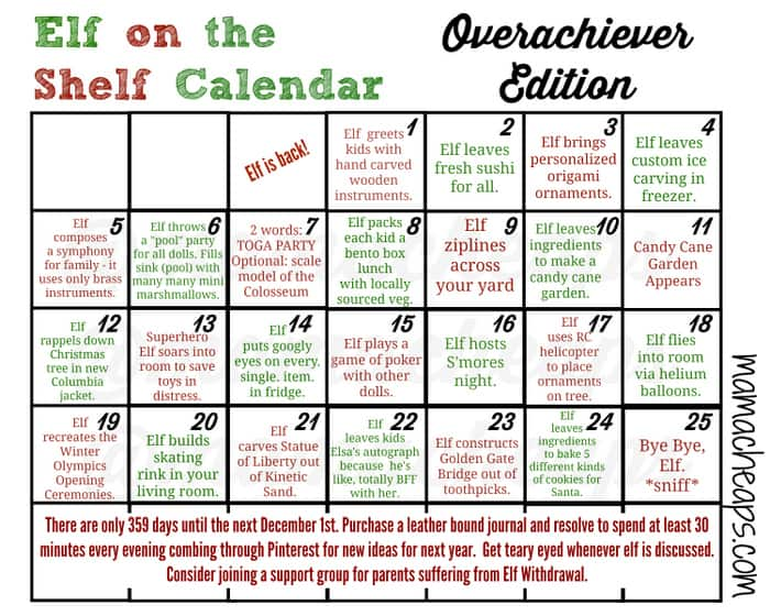 elf on the shelf calendar overachiever edition wm