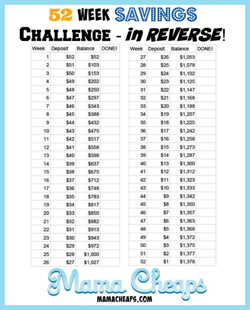 52 Week Savings Challenge – Save $1,378! (UPDATE – WE DID IT!!!)