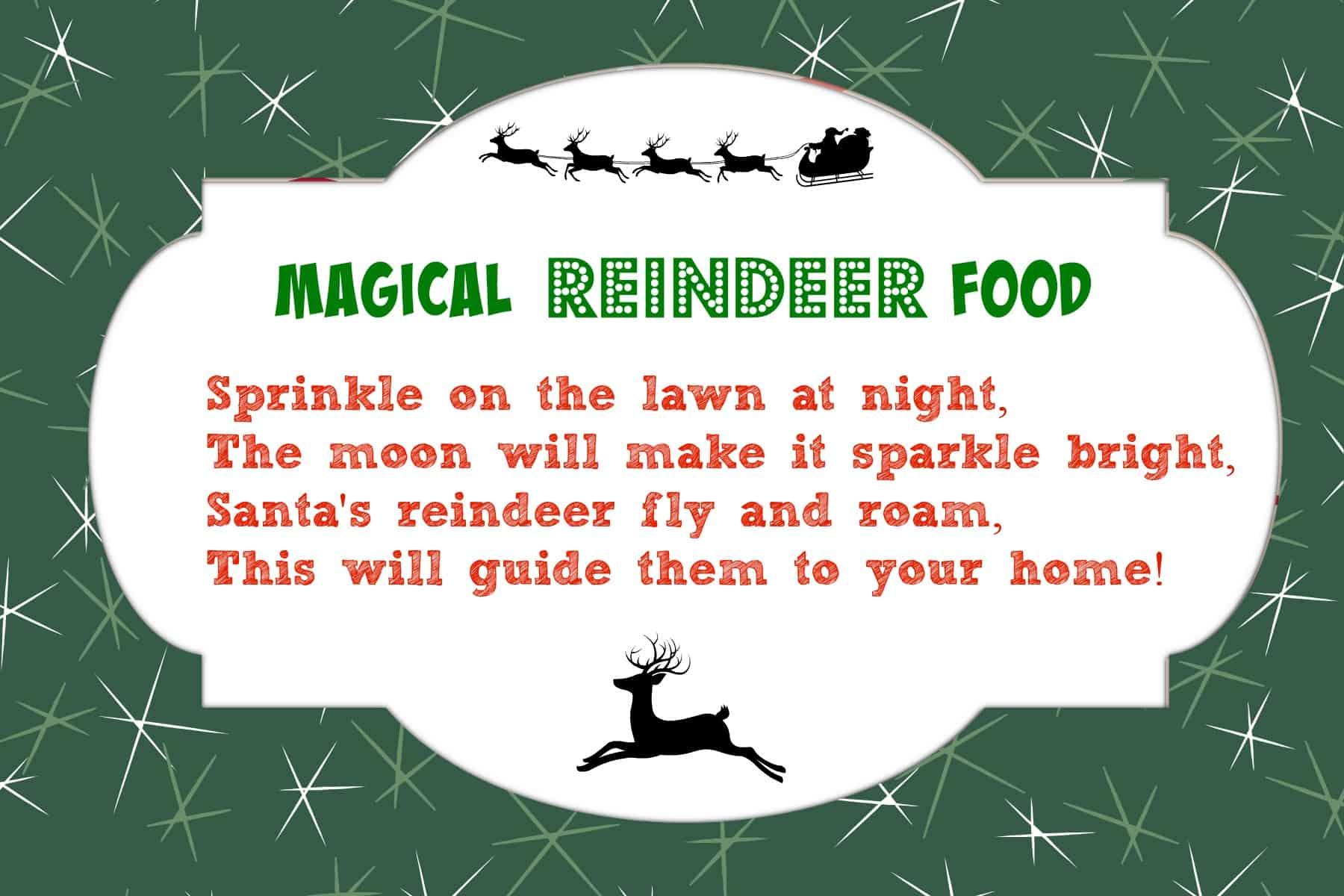 Magic Reindeer Food Printable Poem | New Calendar Template Site