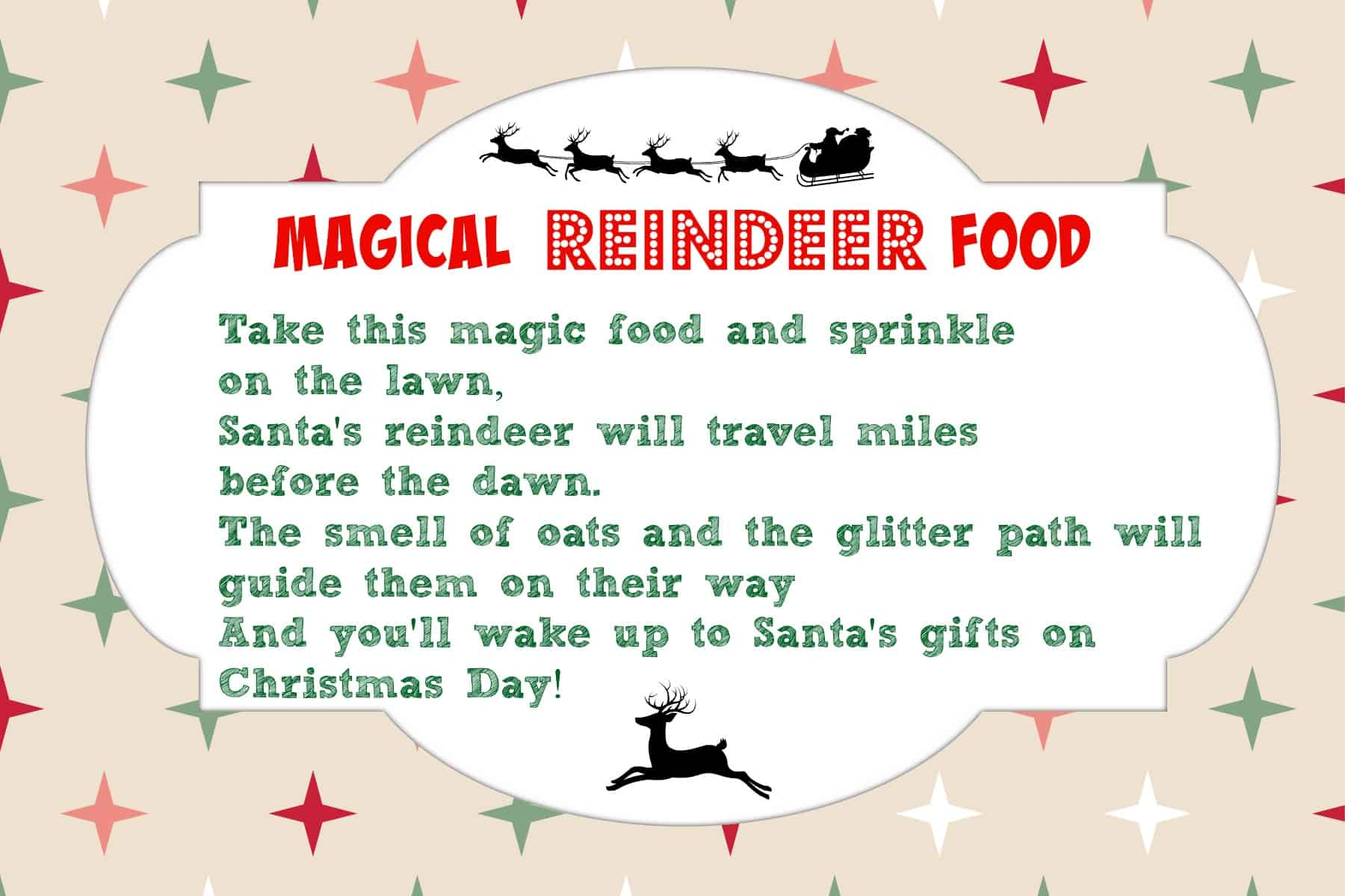 Magical Reindeer Food Recipe + Printable Tag | Mama Cheaps