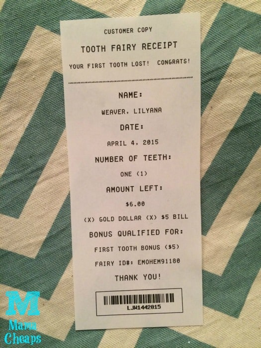 tooth fairy receipt