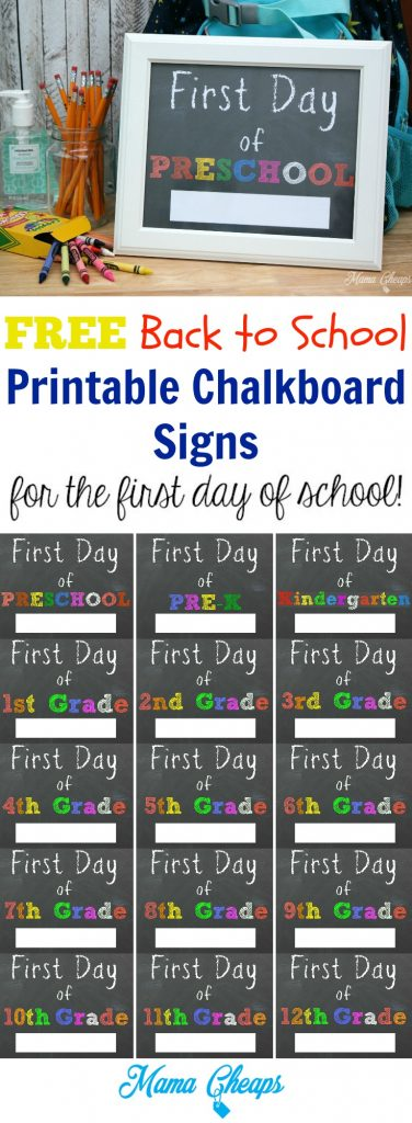 Free Back to School Printable Chalkboard Signs
