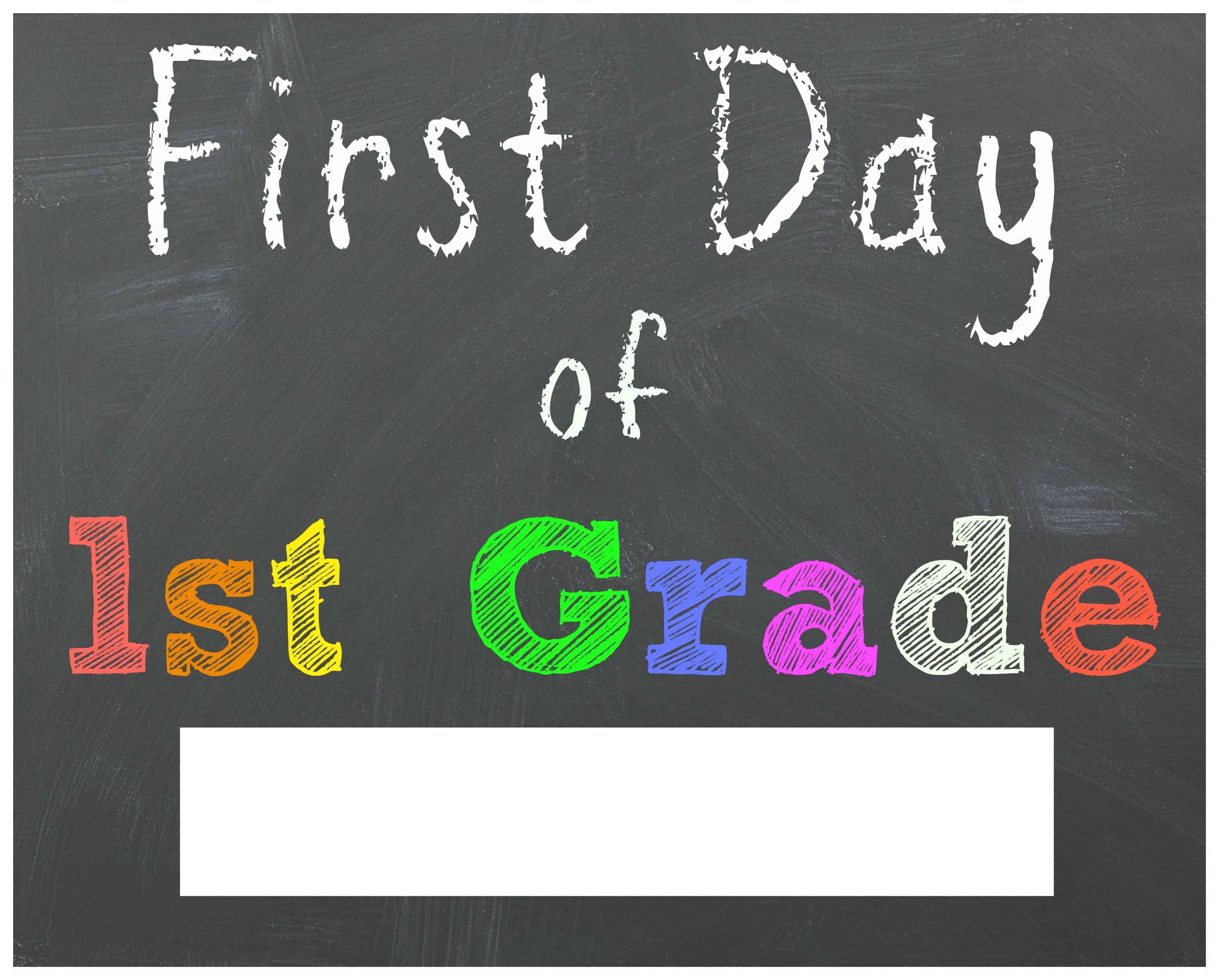 Clean image pertaining to first day of first grade printable