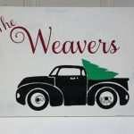 VIntage Truck Christmas Tree Wooden Sign