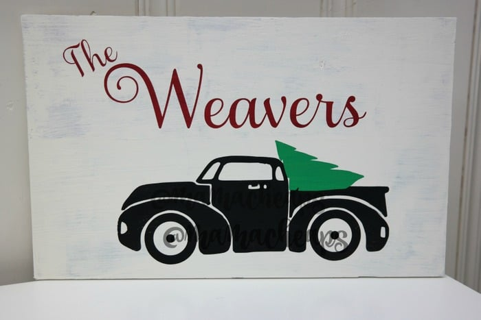 Vintage Truck Christmas Tree Handpainted Wooden Sign