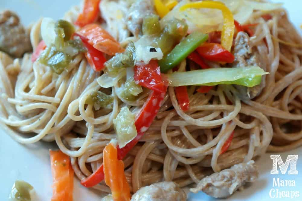Whole Grain Spaghetti with Turkey Sausage, Goat Cheese, Peppers & Onions