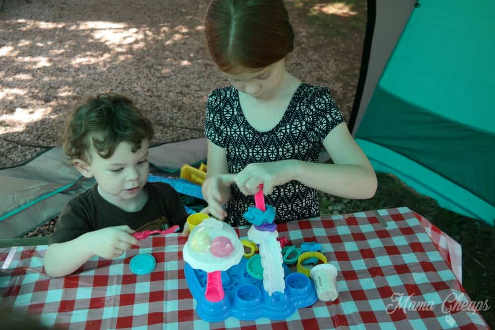 Kids Playing Play Doh in Tent