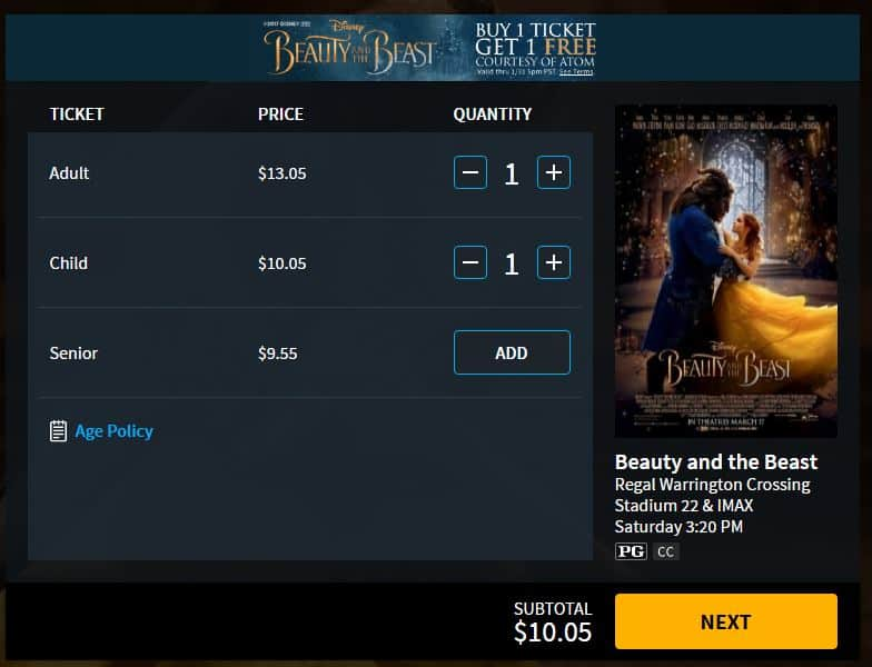 Beauty and the Beast Ticket Purchase