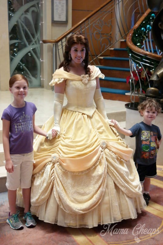 Kids with Belle on Disney Cruise