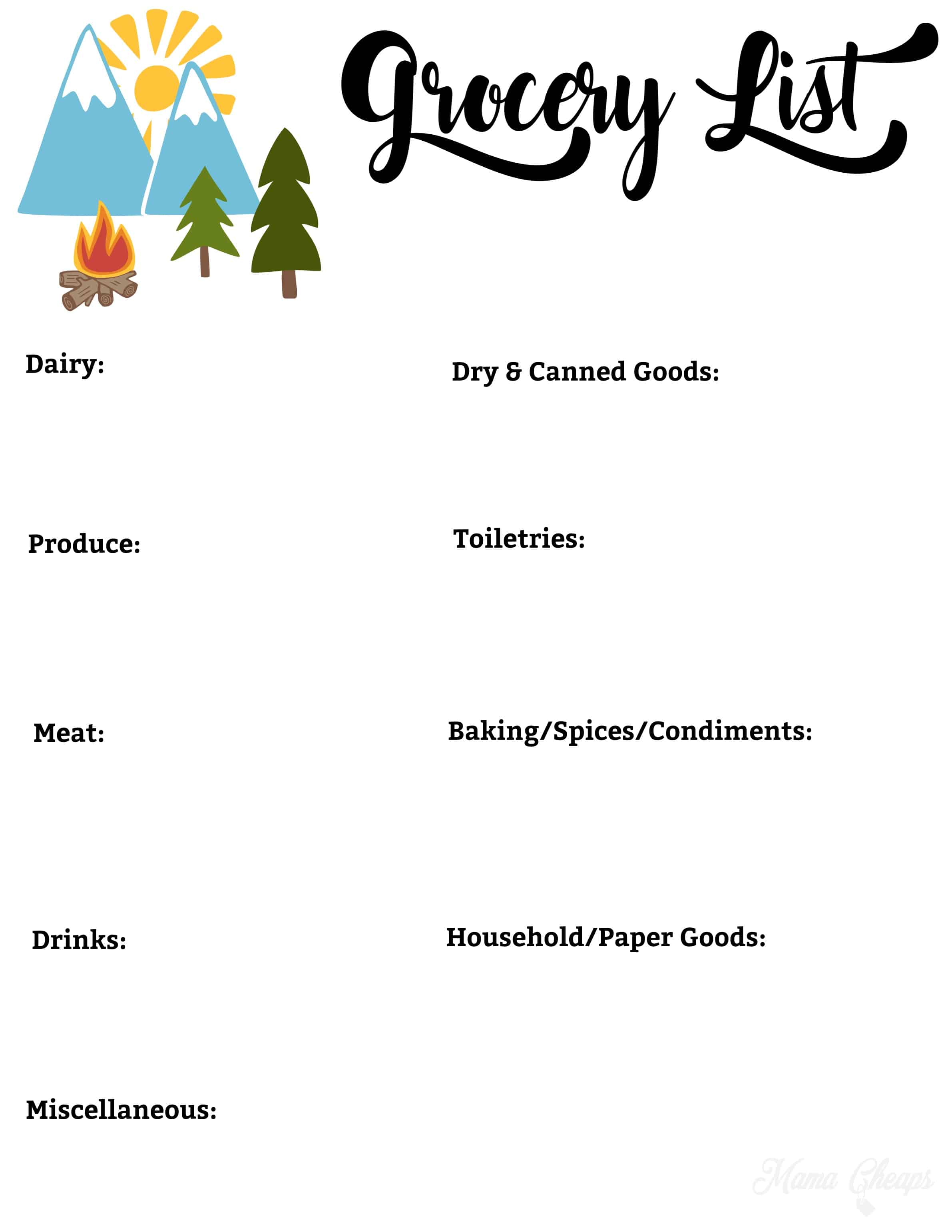 photo relating to Camping Food List Printable named Tenting Grocery Record Grocery Listing Template -
