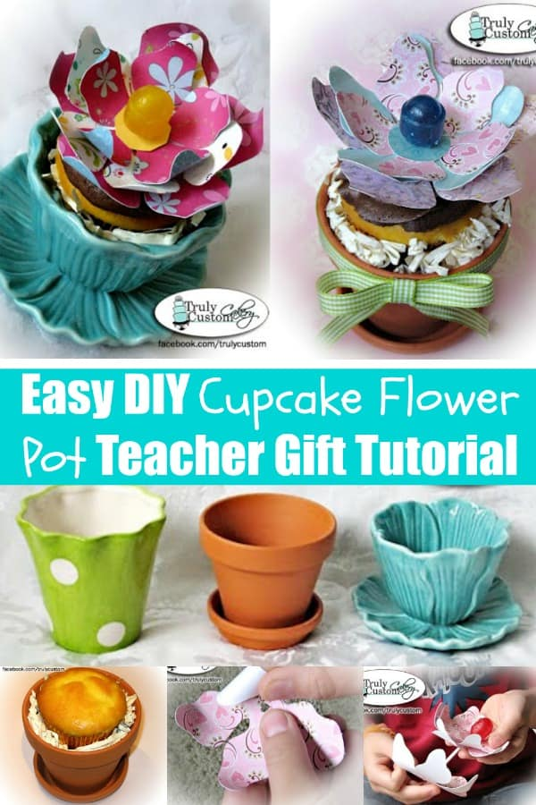 Easy DIY Cupcake Flower Pot Teacher Gift Tutorial