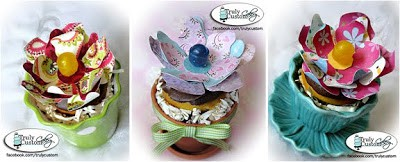 three cupcake lollipop flowers