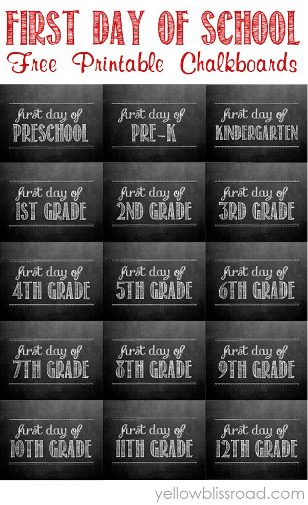 FREE First Day of School Printable Picture Signs | Mama Cheaps