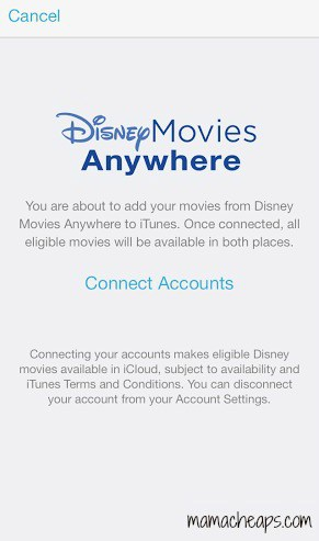 disney movies anywhere app connect itunes