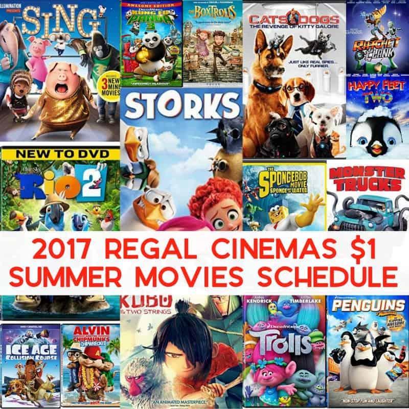 2017 Regal $1 Summer Movies Schedule