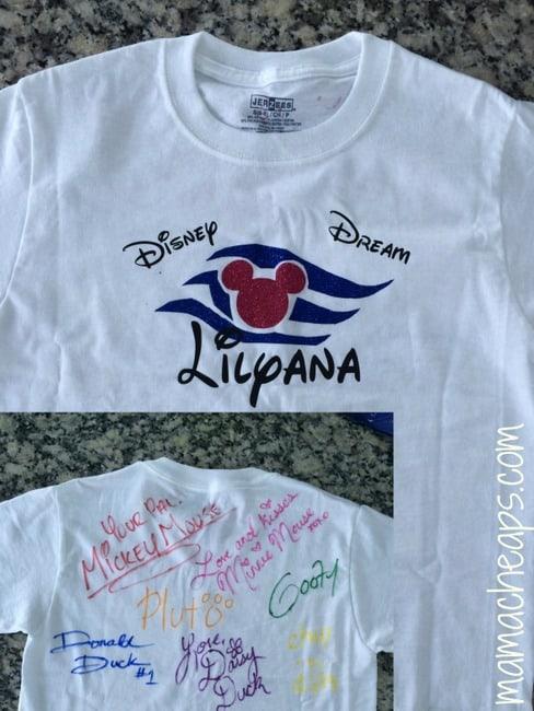 disney cruise ship autographed shirt