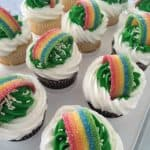 st patricks day rainbow cupcakes tray