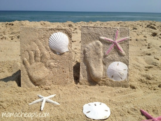 diy beach handprint footprint craft frame