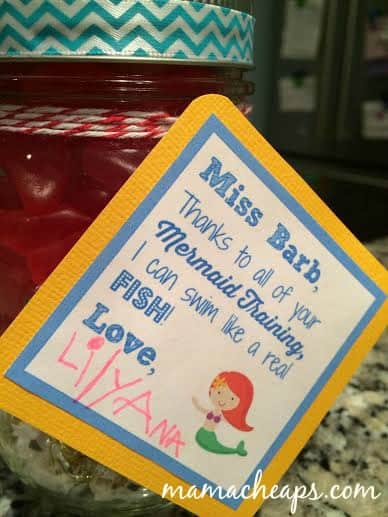teacher gift swedish fish swimming mermaid appreciation tag close up