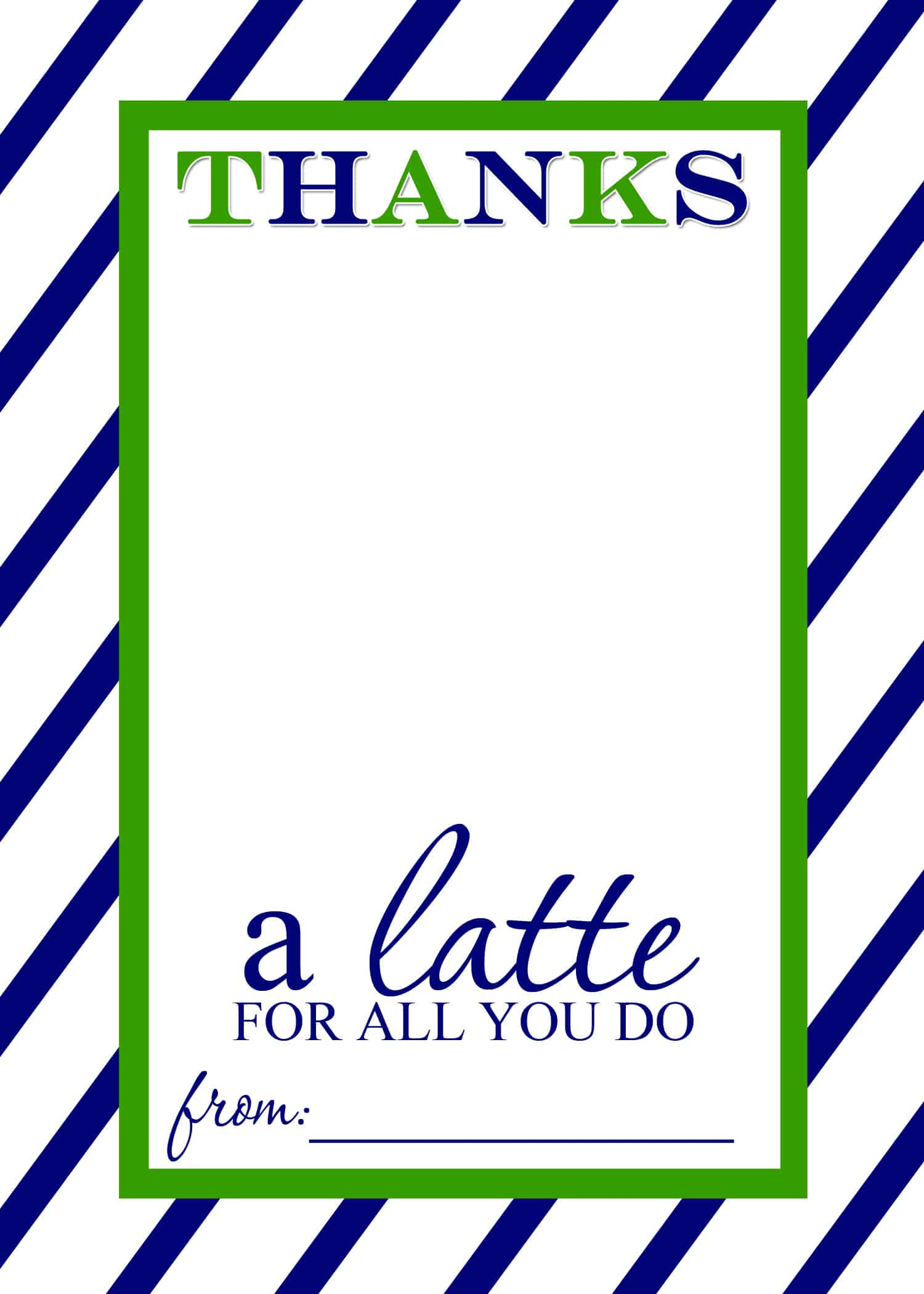 Teacher Appreciation Gift Idea Thanks A Latte FREE Printable Card - Gift registry card template free