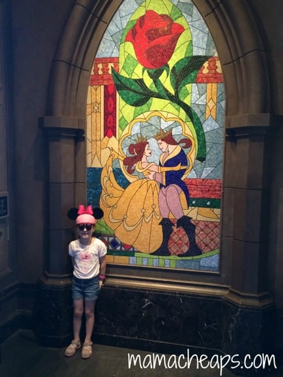 disney world magic kingdom be our guest restaurant stained glass window