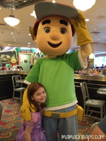 lily at disney junior play and dine hollywood studios with handy manny