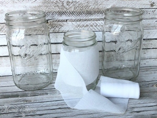 Glass Mason Jar Gauze Wrap