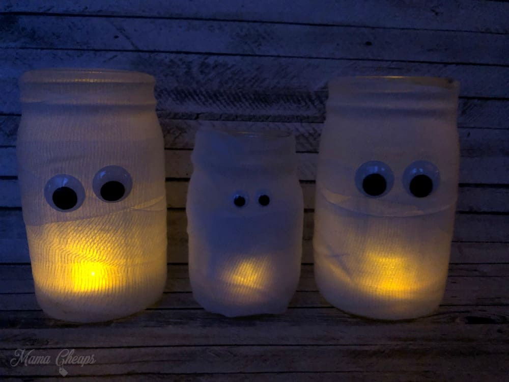 Glowing Mason Jar Mummies