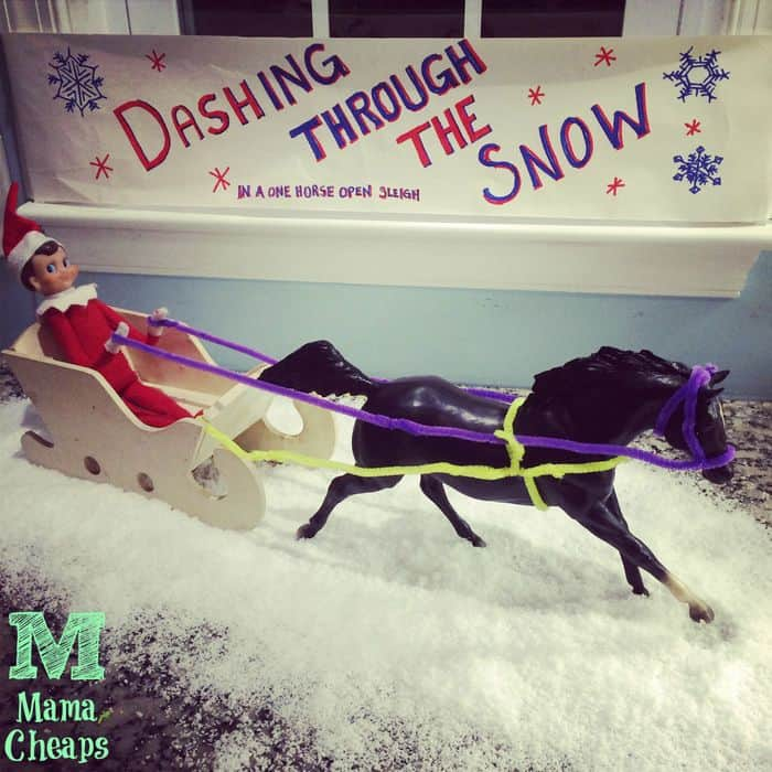 elf on shelf horse sleigh