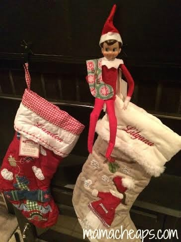 elf on the shelf in stockings