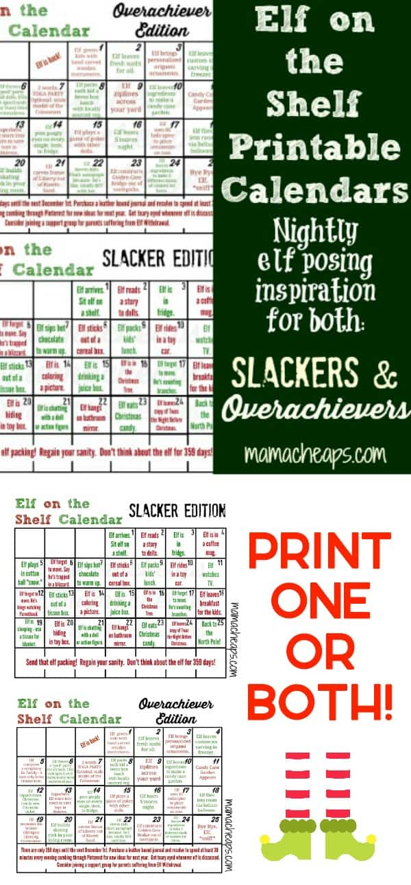 Elf on the Shelf Printable Calendars