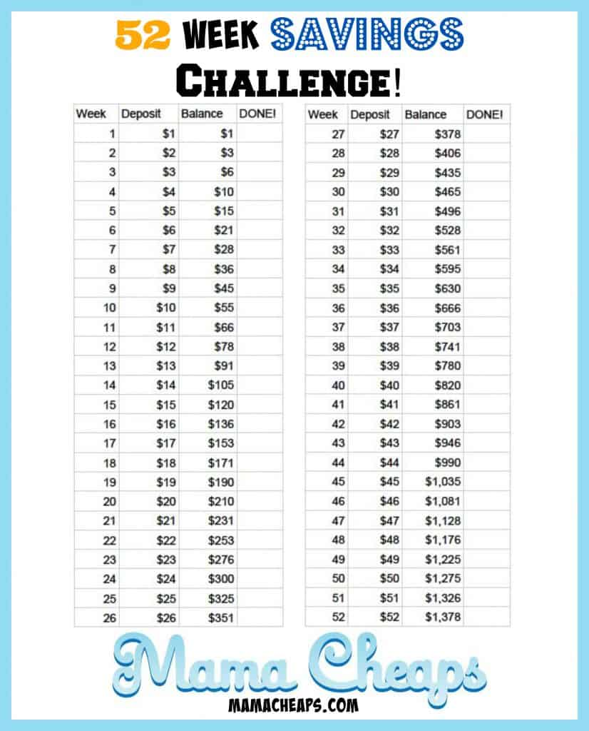 52 week savings challenge plan
