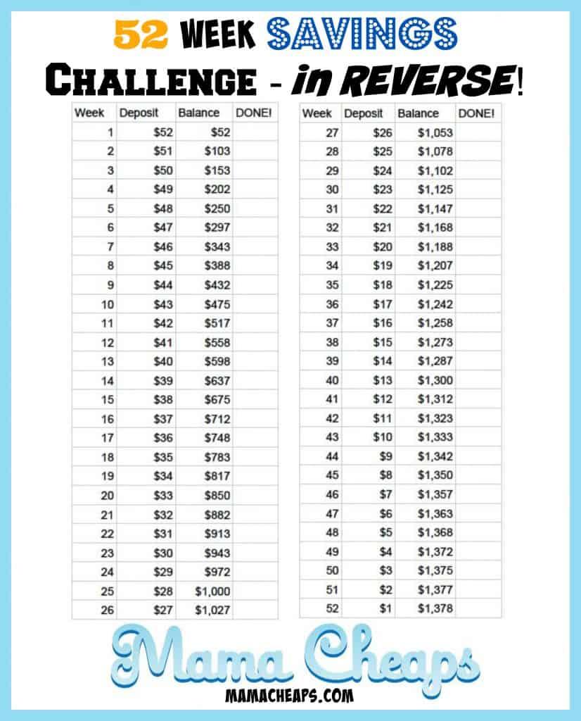 52 week savings challenge reverse