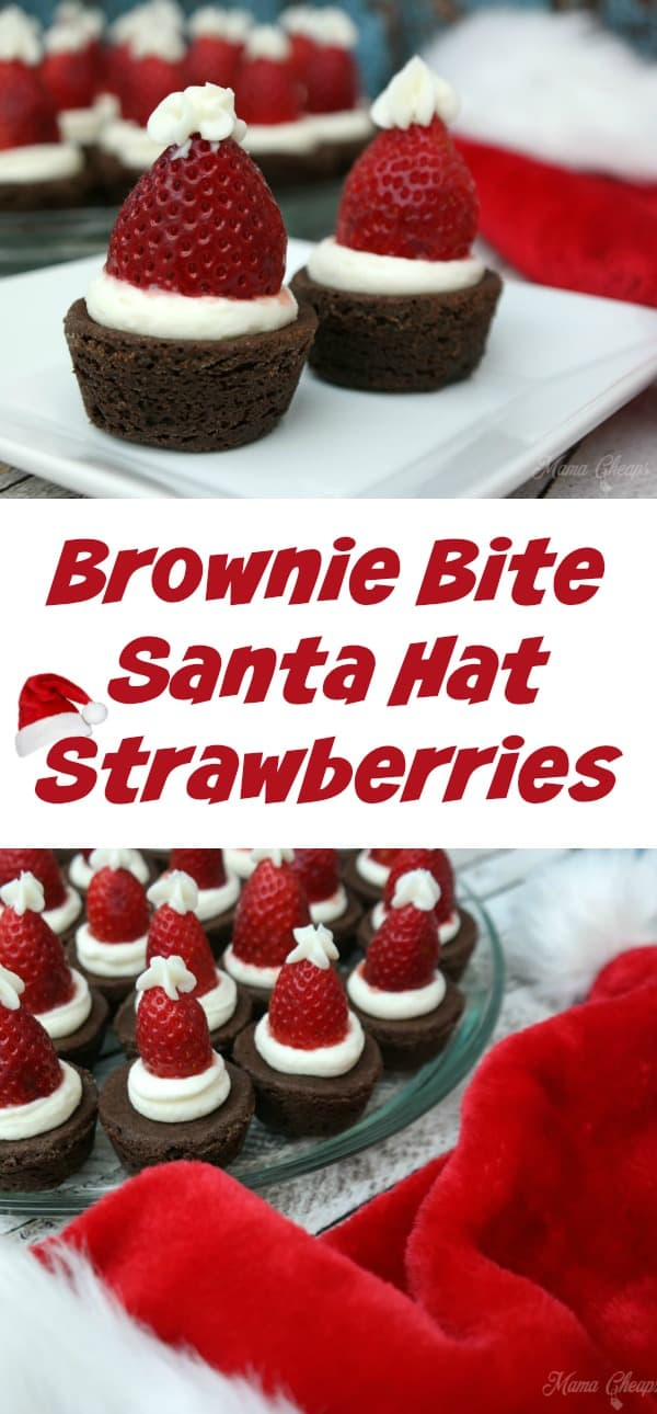 Brownie Bite Santa Hat Strawberries