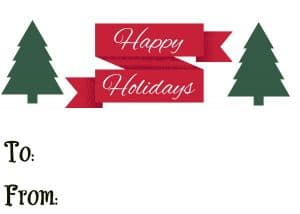 Happy Holidays printable gift tag