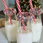 Rainbow Sprinkle Rimmed Milk Bottles