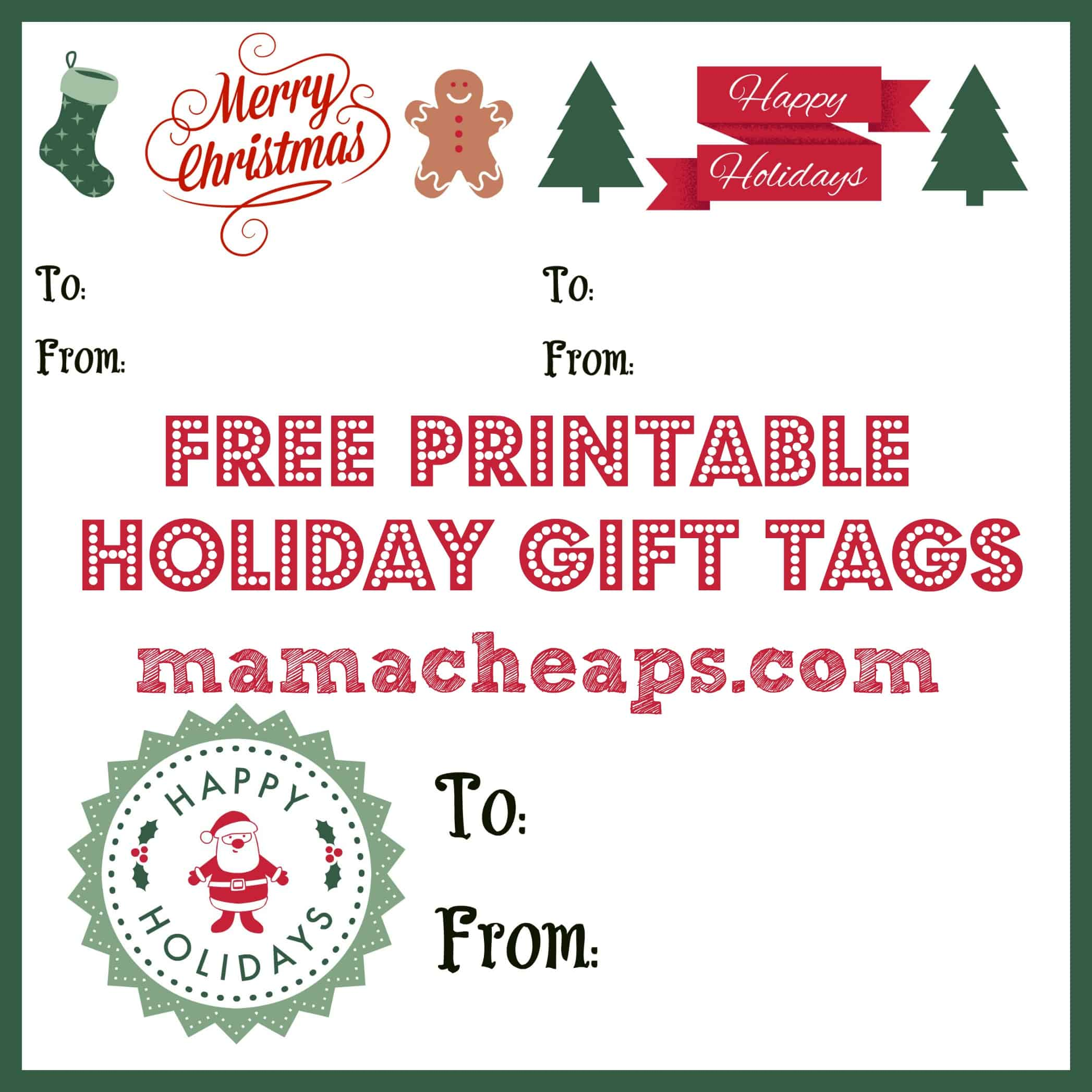 photo relating to Printable Holiday Gift Tags titled Free of charge Printable Vacation Reward Tags - Superb for Publications, And many others