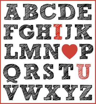 I LOVE YOU alphabet print