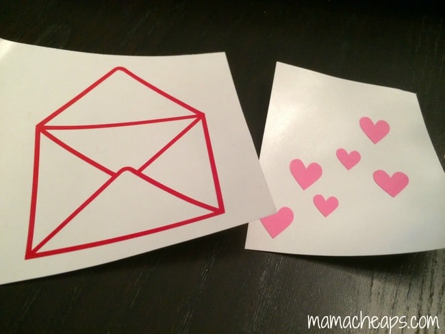 hearts envelope cut with silhouette portrait vinyl