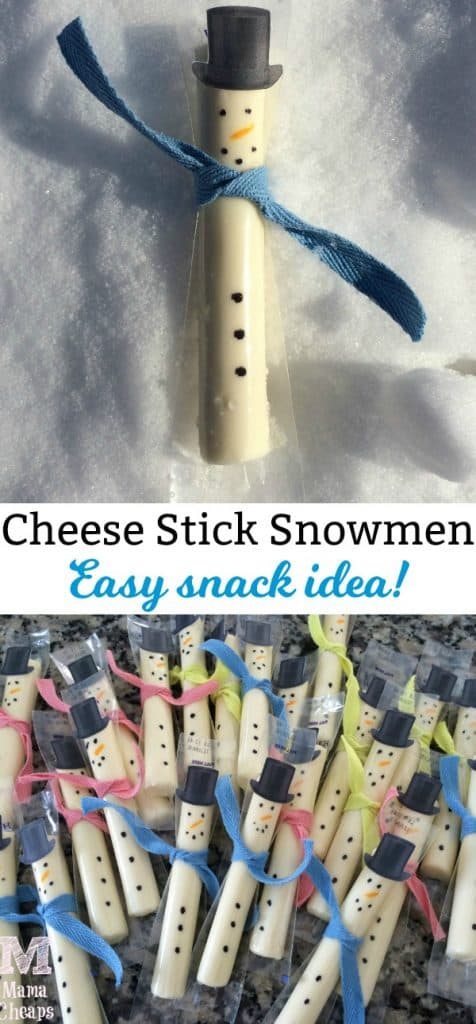 Cheese Stick Snowmen Snacks