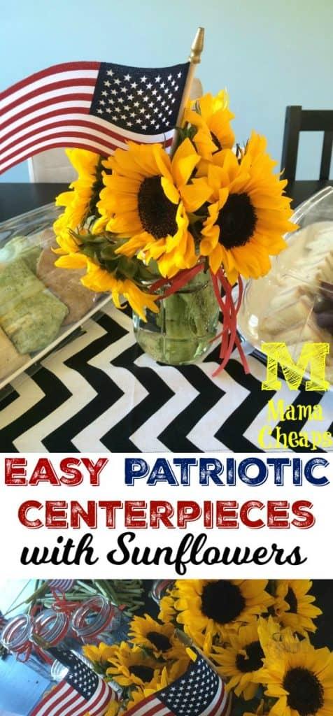 Patriotic American Flag Sunflower Centerpieces