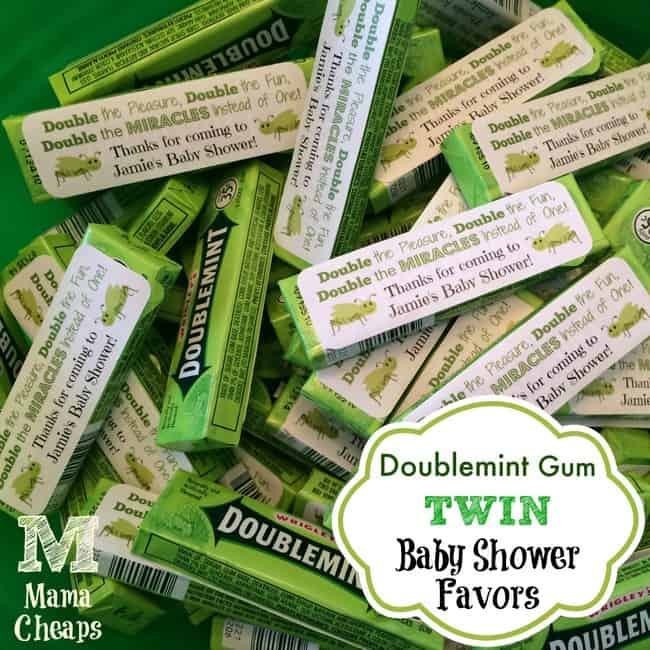 Doublemint gum twin baby shower favors free printable for Baby shower decoration ideas for twin boys