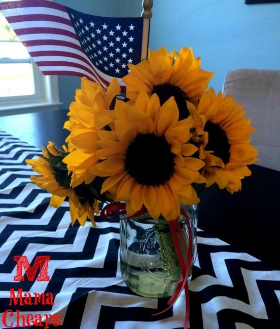 Patriotic Sunflower Centerpiece