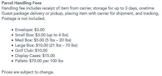 disney resort parcel handling fees