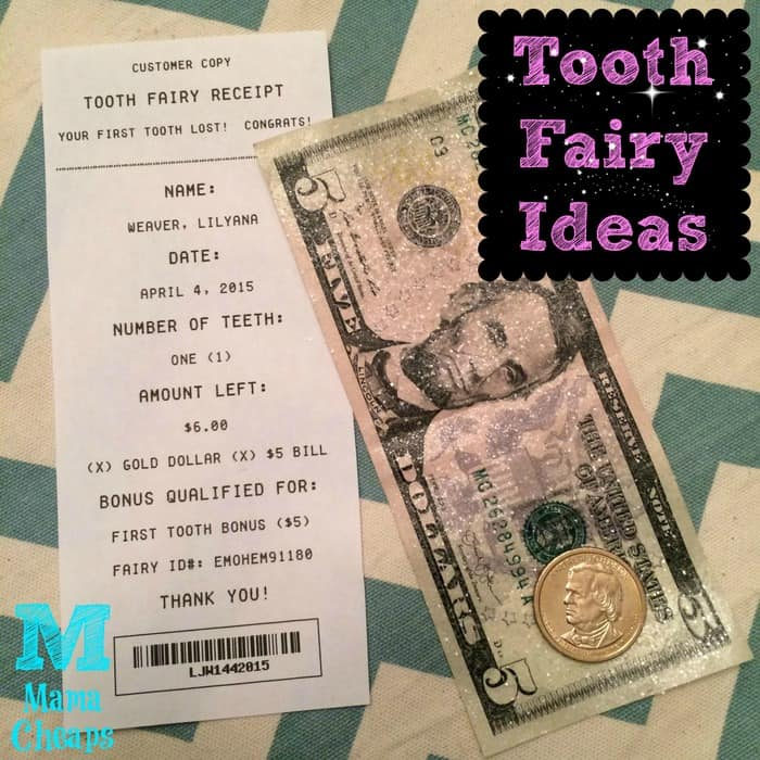 tooth fairy receipt glitter money title