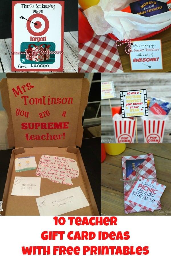 10 Teacher Gift Card Ideas with Free Printables