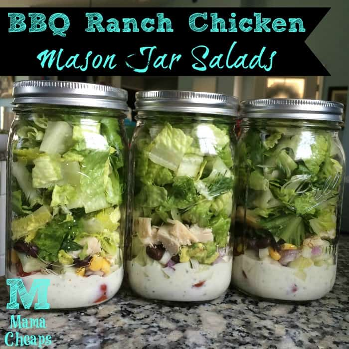 bbq ranch chicken mason jar salads