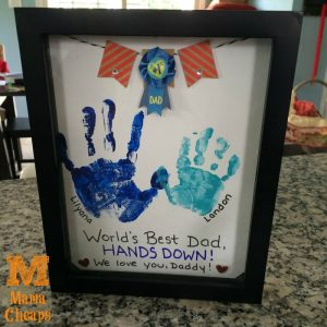 fathers day handprint gift shadow box
