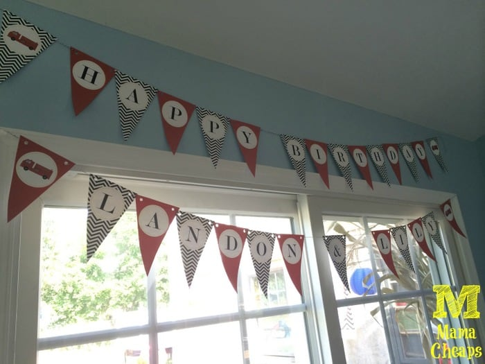 fire truck birthday party banner
